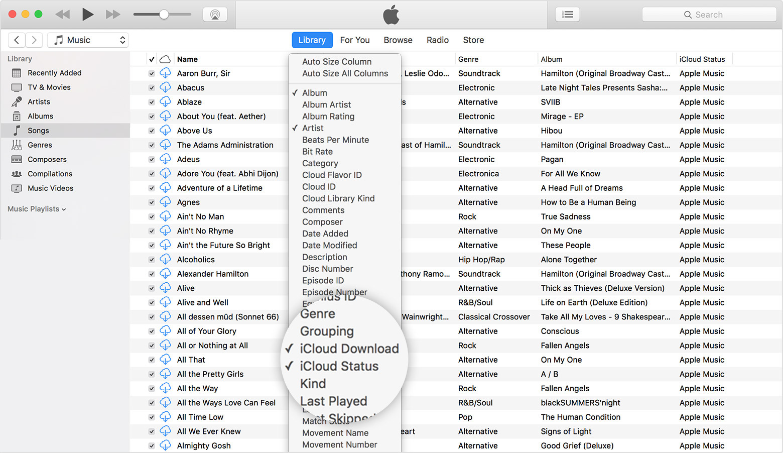 About icloud music library icons and status apple support if there isnt select icloud download or icloud status to turn the columns on buycottarizona