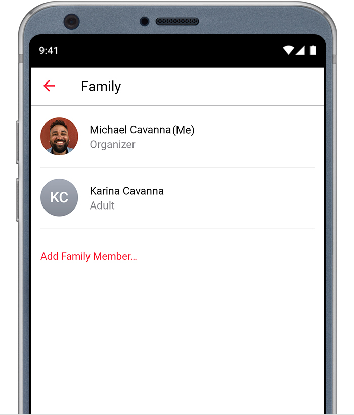 "Android phone showing the ""Add Family Member"" screen in the Apple Music app."