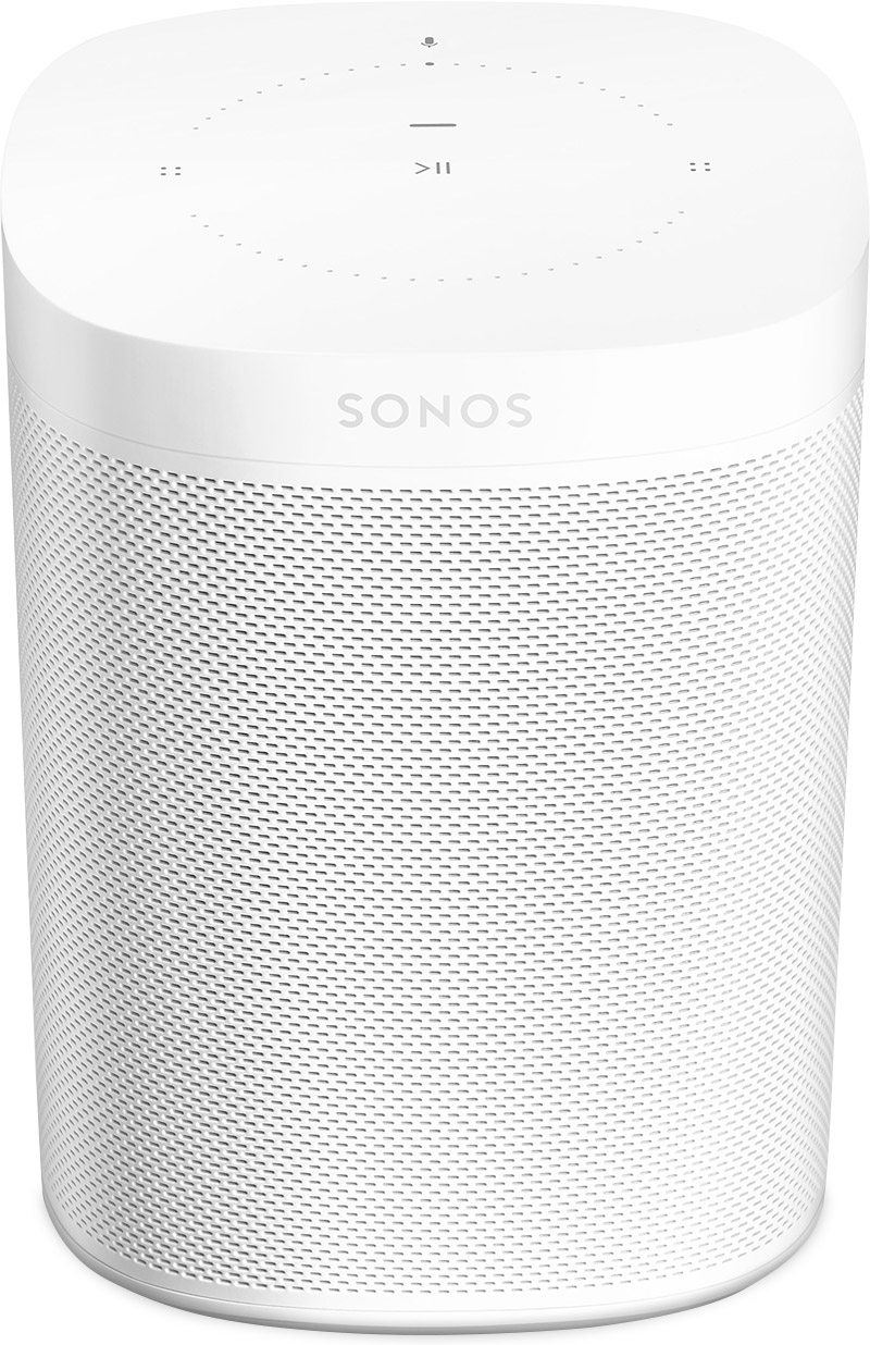 View of a white Sonos speaker.