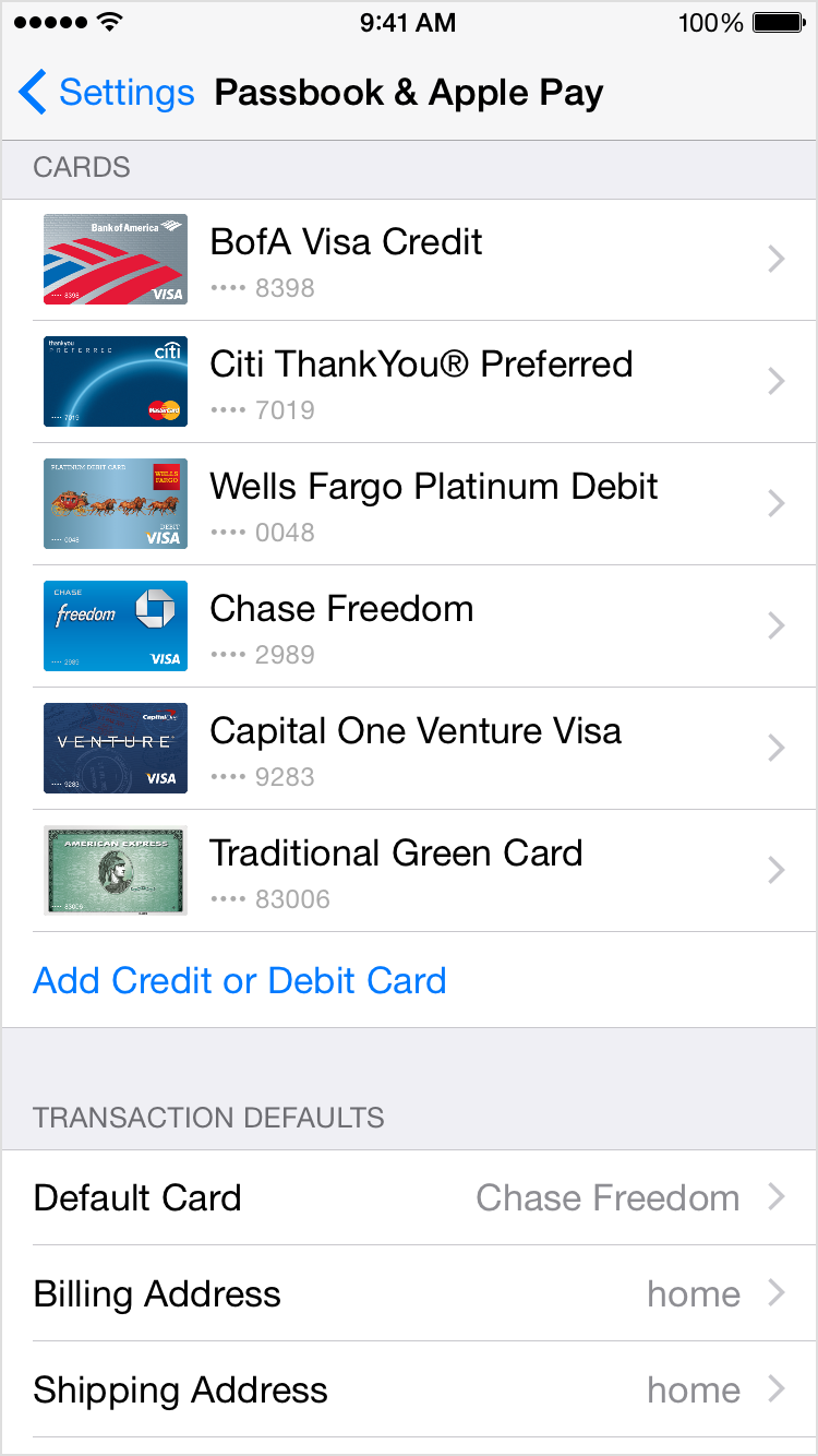 Default Card in Passbook settings