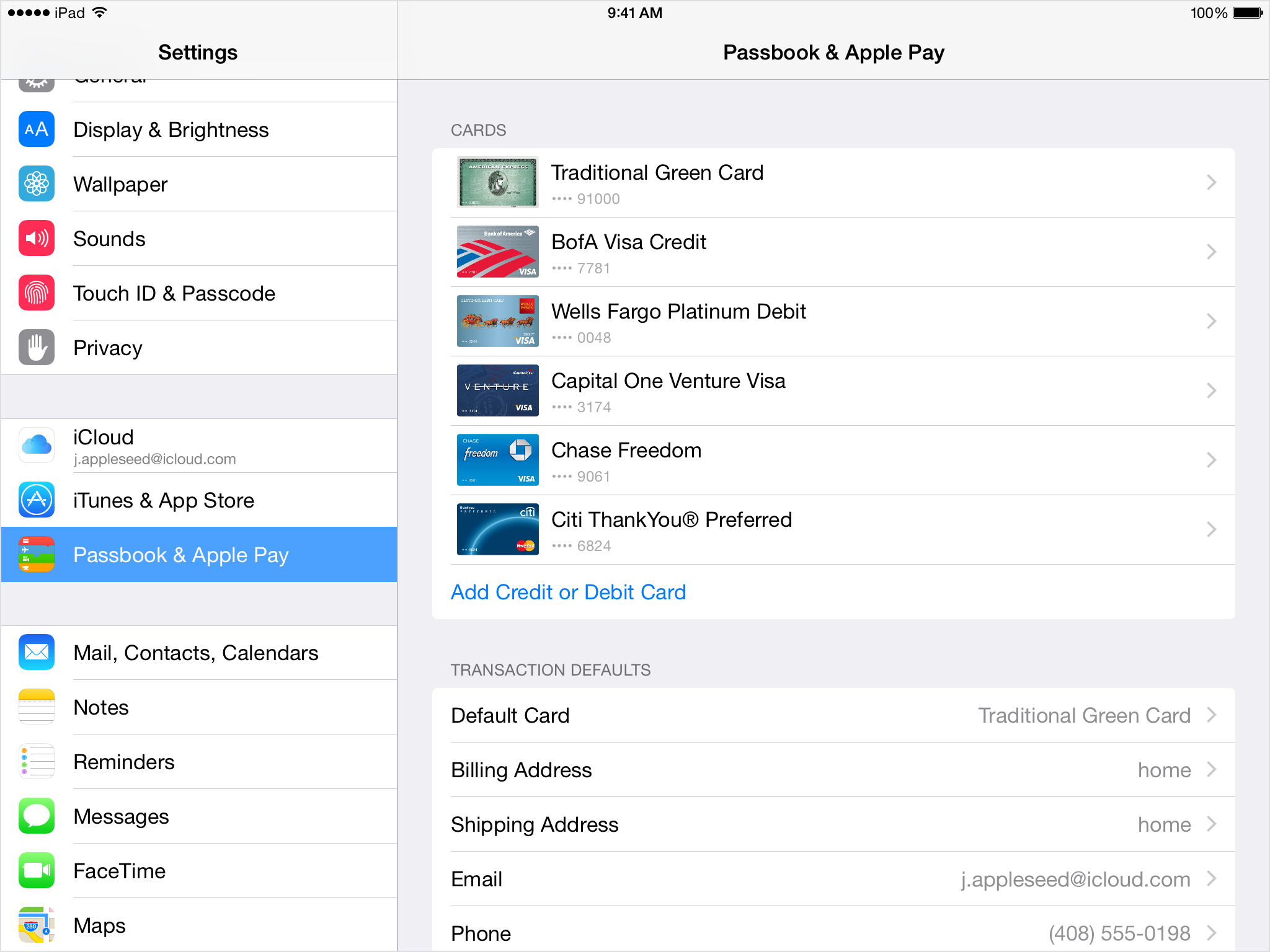 Add Credit or Debit Card in Passbook settings