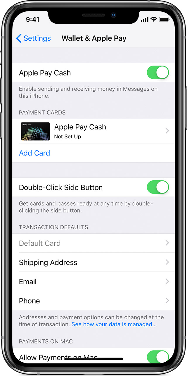 Apple Pay Cash setup screen in Wallet