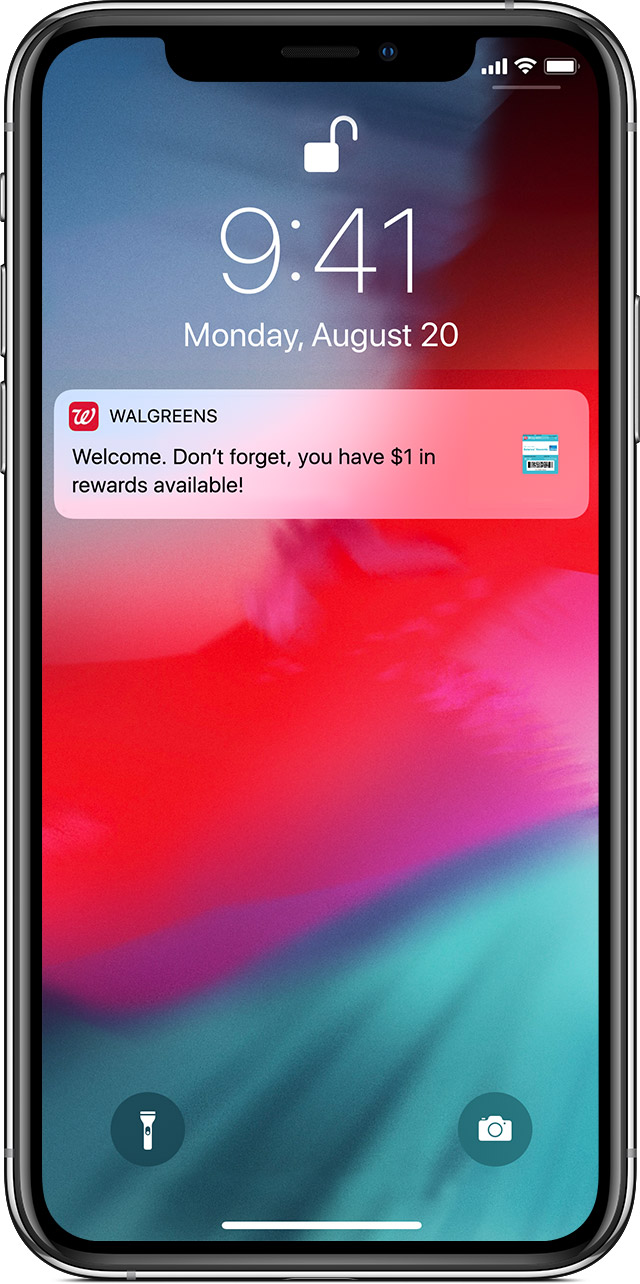 Wallet app passes notification on lock screen