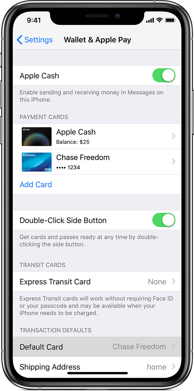 Manage the cards that you use with Apple Pay - Apple Support
