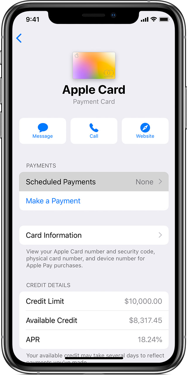 the Schedule Payments button for Apple Card