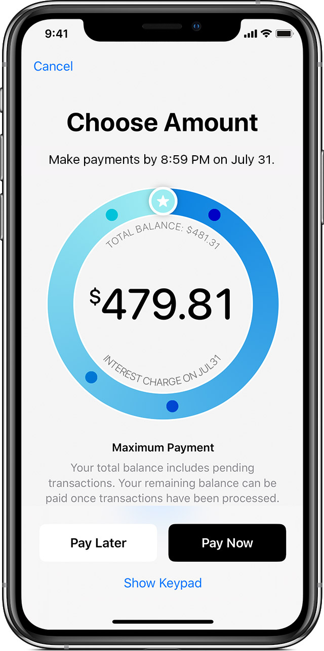 maximum payment screen for Apple Card