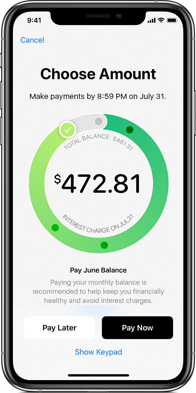 monthly balance payment screen for Apple Card