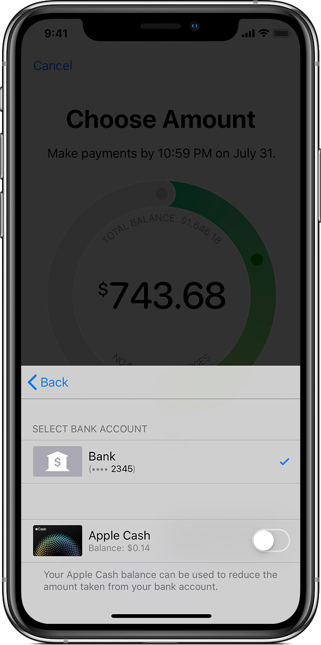the bank account and Apple Cash payment source screen for Apple Card