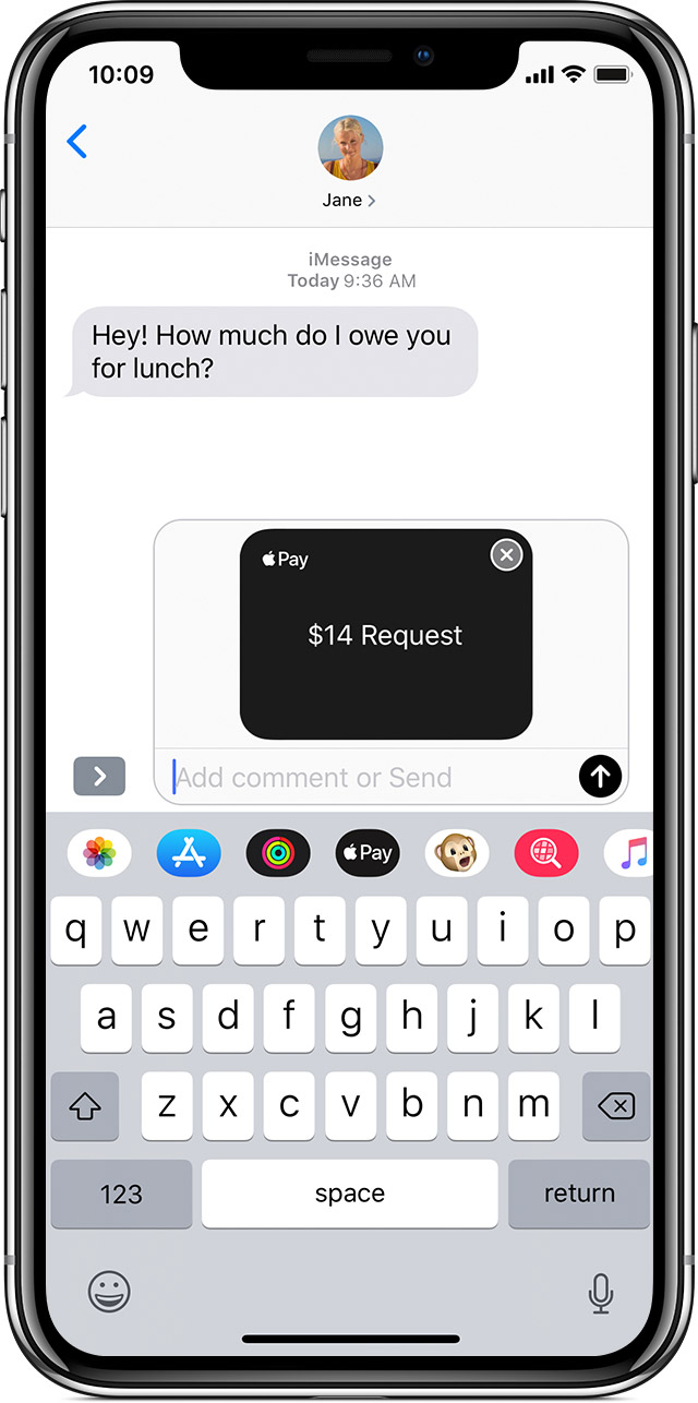 Screen showing money being requested with Apple Pay