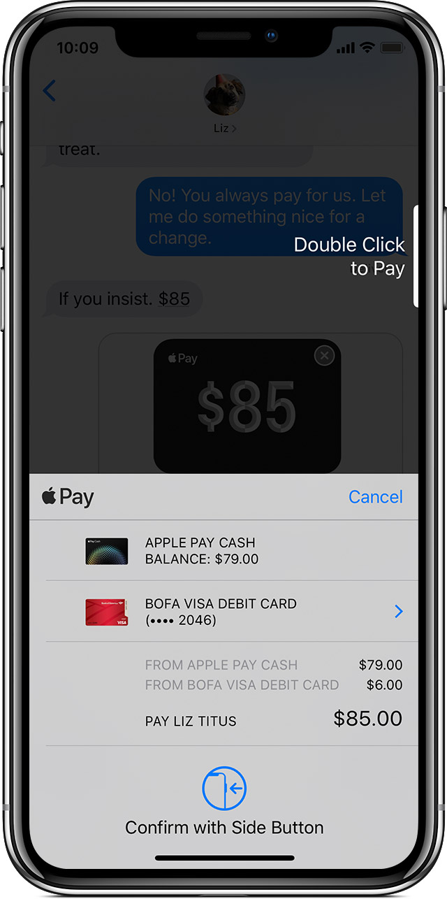 Apple Pay payment method screen on iPhone