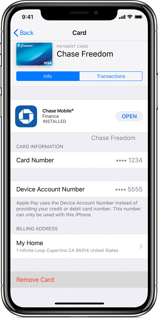 Remove card on iPhone or iPad