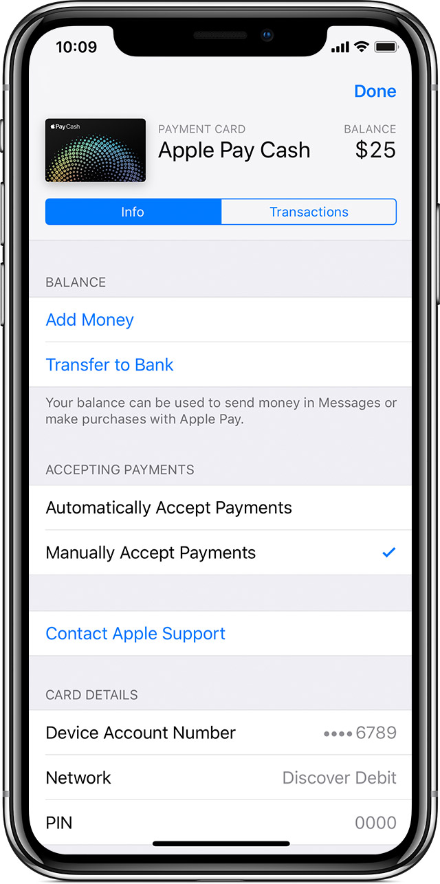Screen showing how to automatically accept payments with Apple Pay