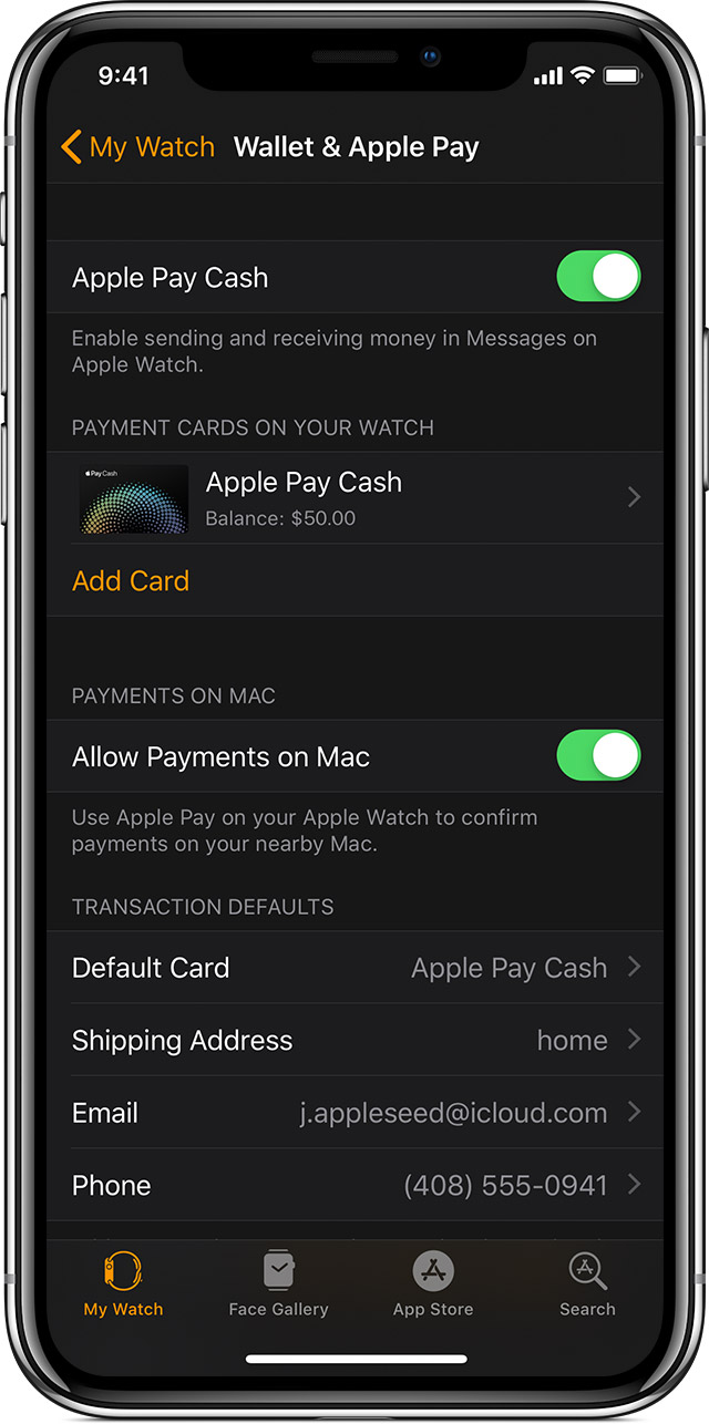 Add a card to Wallet & Apple Pay to Apple Watch