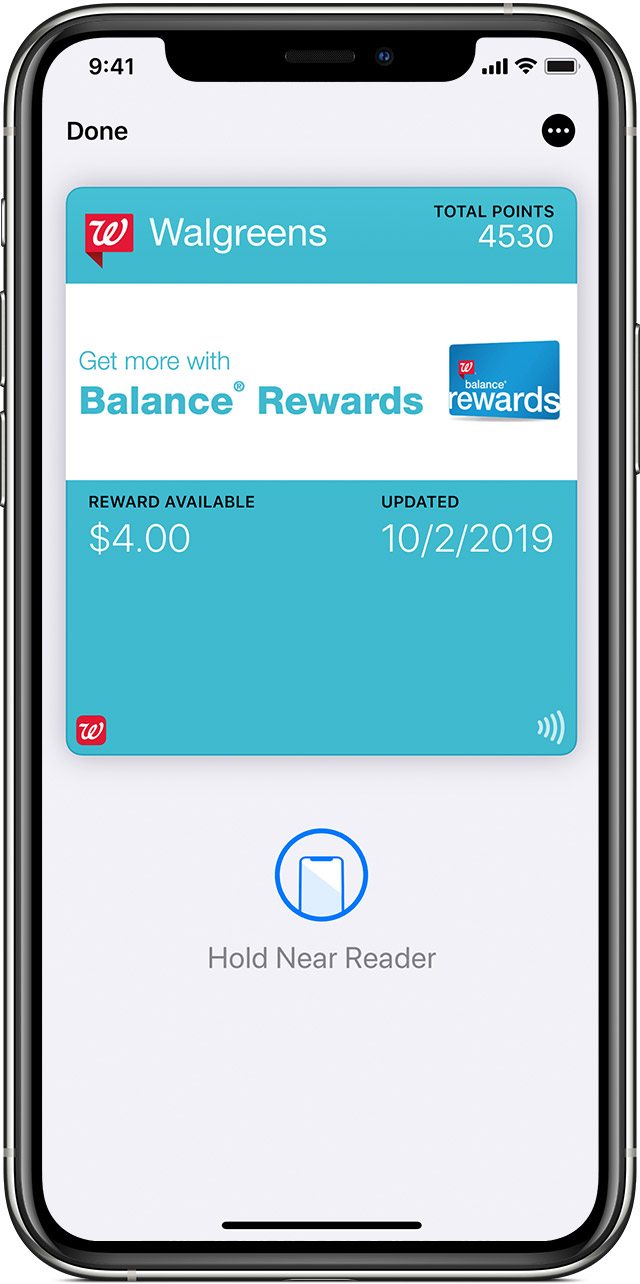 Wallet app rewards card view
