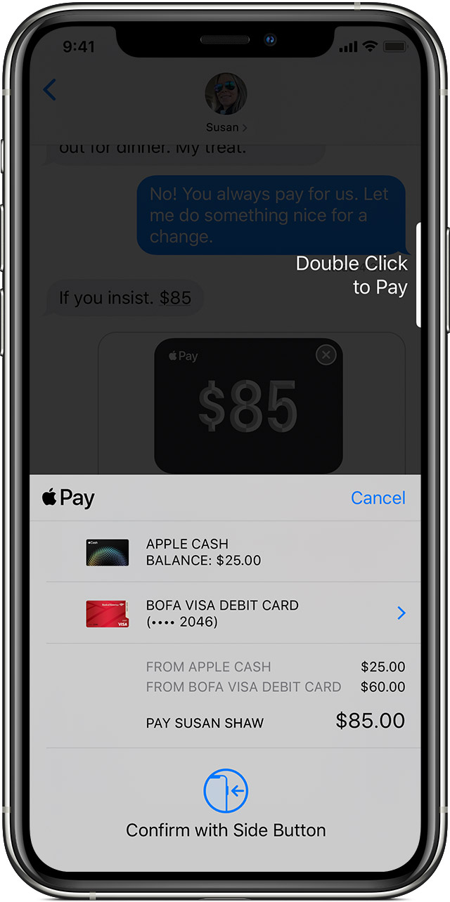Choose your payment method for sending Apple Cash