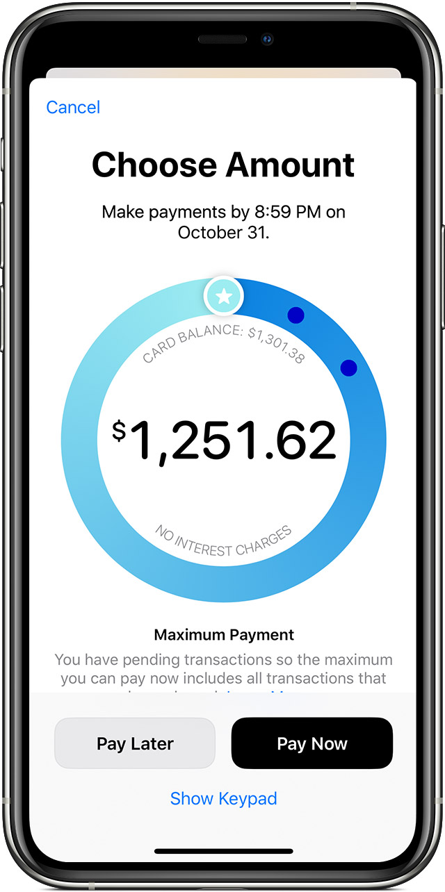 Make the maximum payment for your Apple Card account