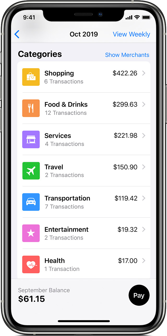 View your Apple Card spending activity in the Wallet app