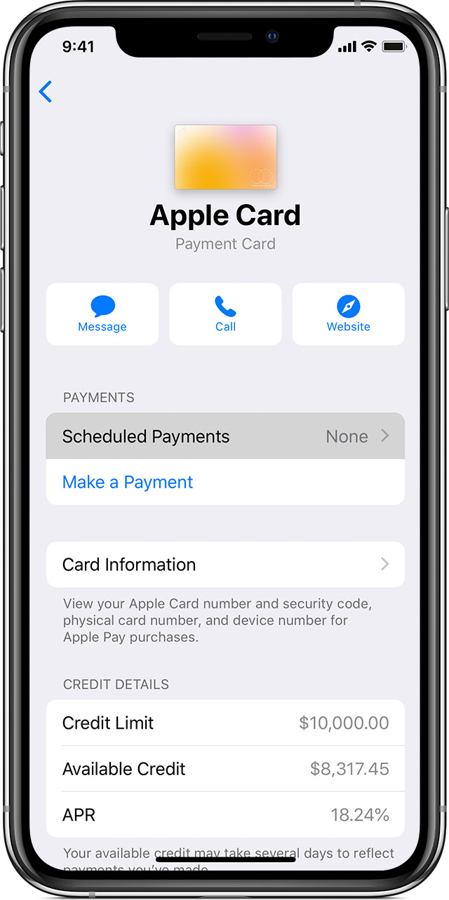 Set up scheduled payments for Apple Card in the Wallet app