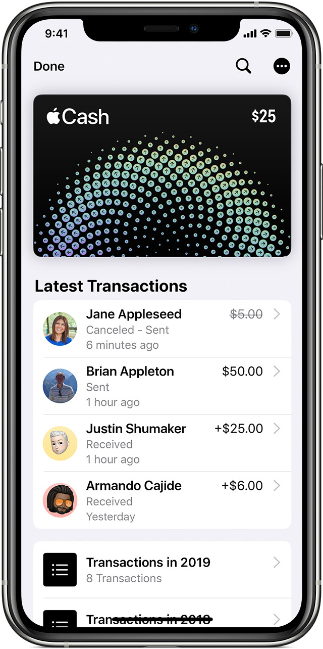 Latest Transactions for Apple Cash