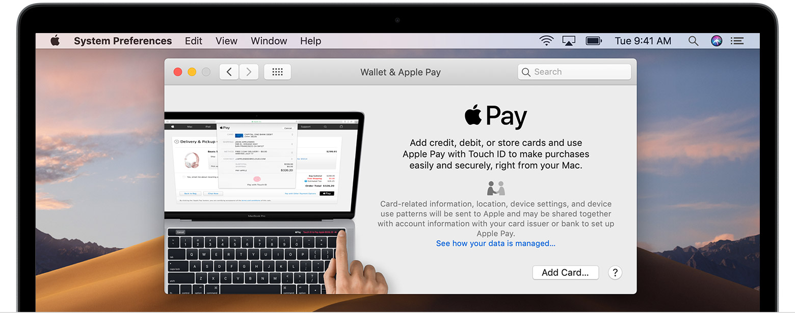 Přidání karty do Apple Pay na Macu