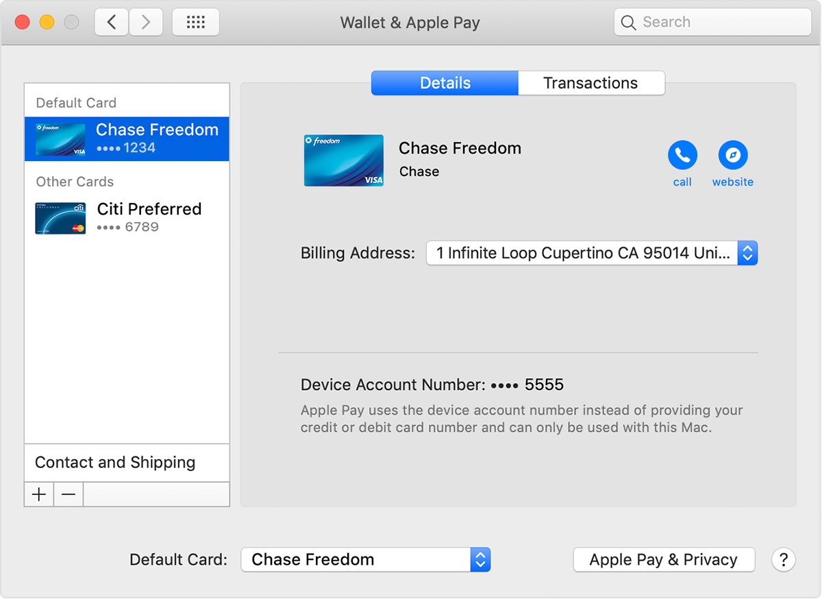Apple Pay default card on Mac models