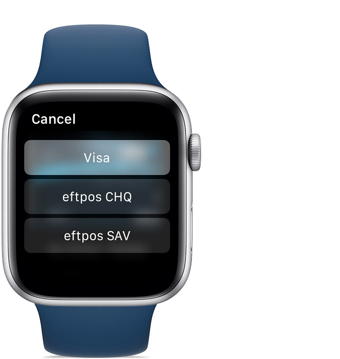 choose a payment network screen on Apple Watch