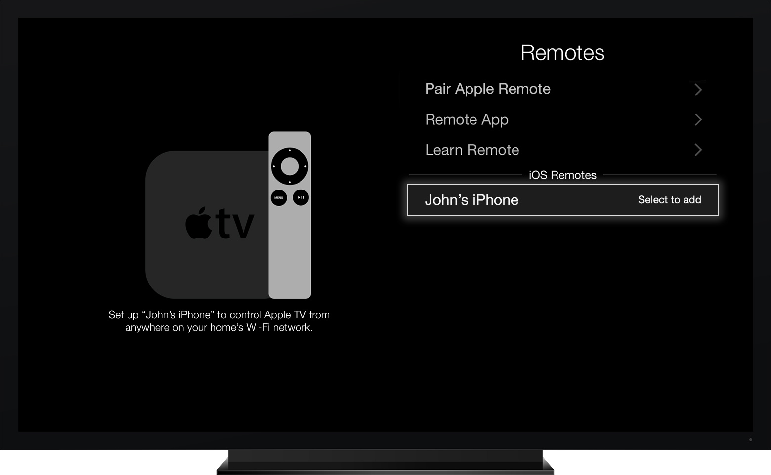 Select the name of your iOS device from Settings > General > Remotes.
