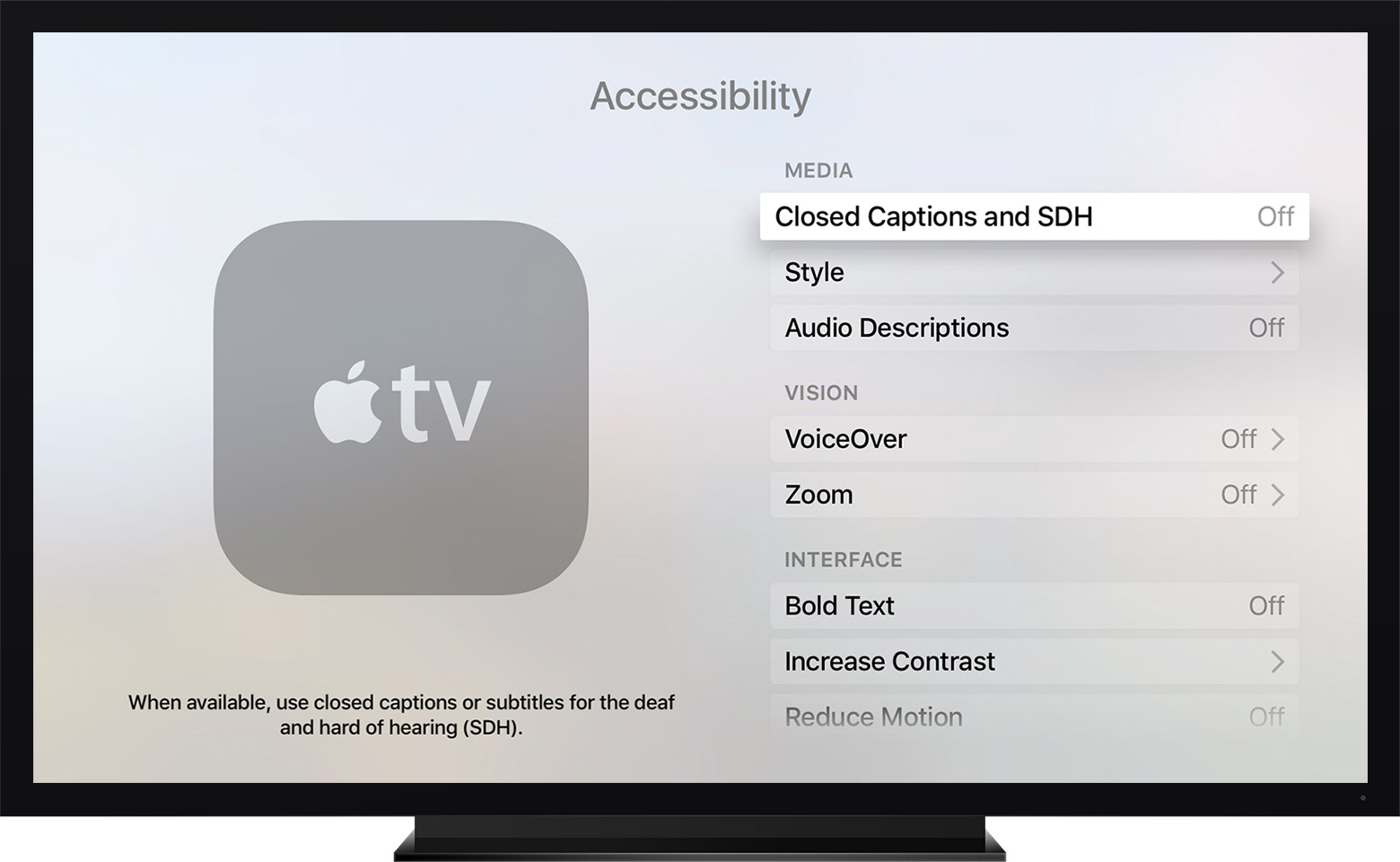 Accessibility closed caption and SDH settings screen