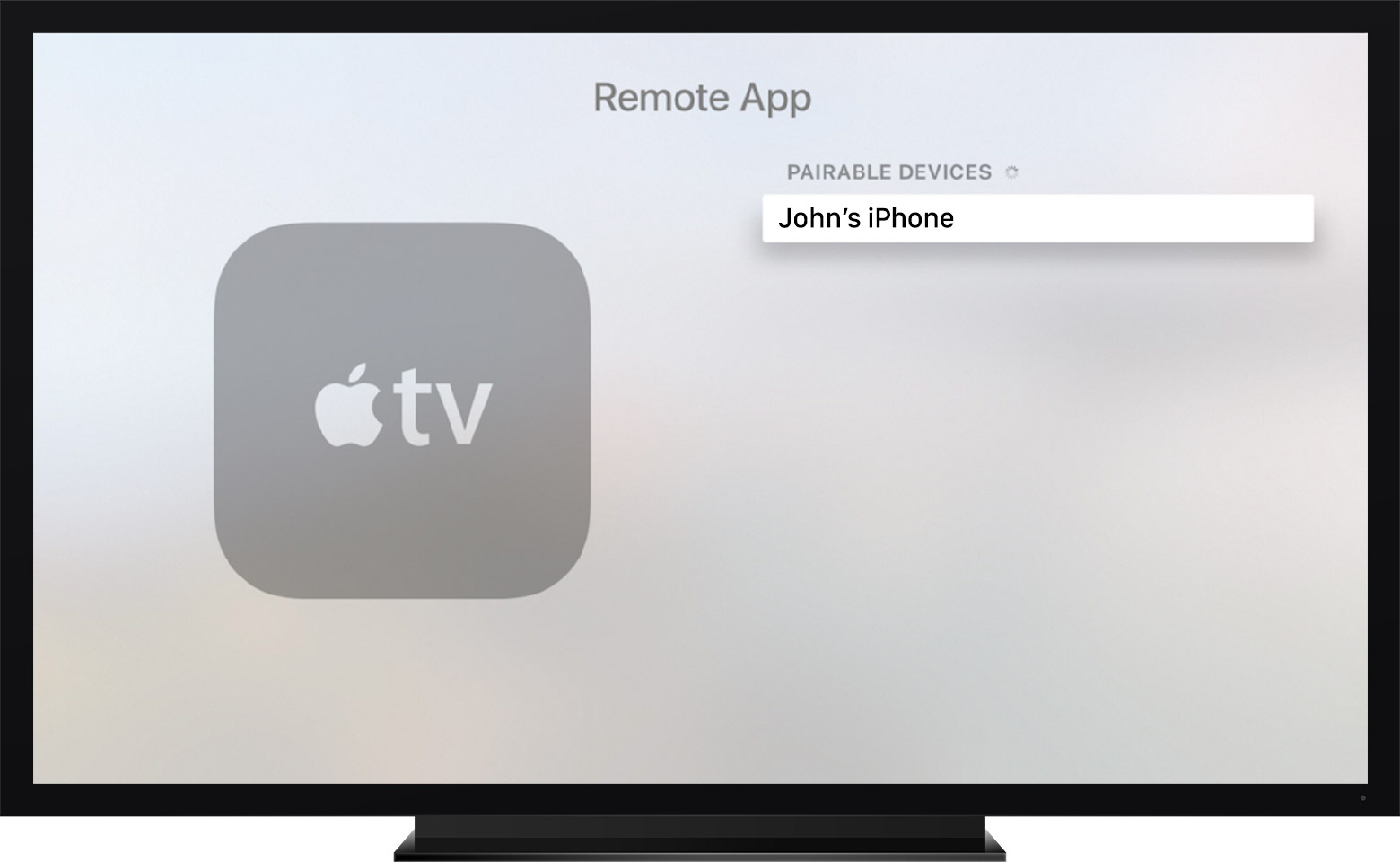 The Remote app in the Settings menu on Apple TV (4th generation)