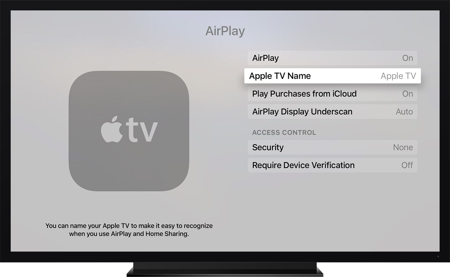 Change the name of your Apple TV (4th generation)
