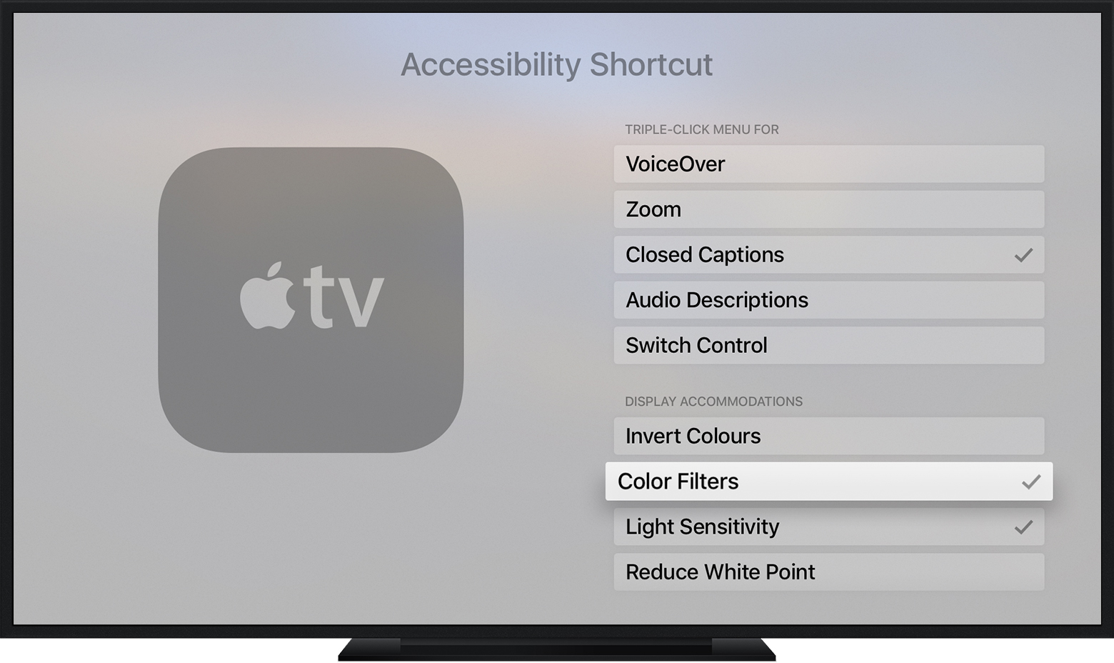 Select which features you want shortcuts for on Apple TV (4th generation)