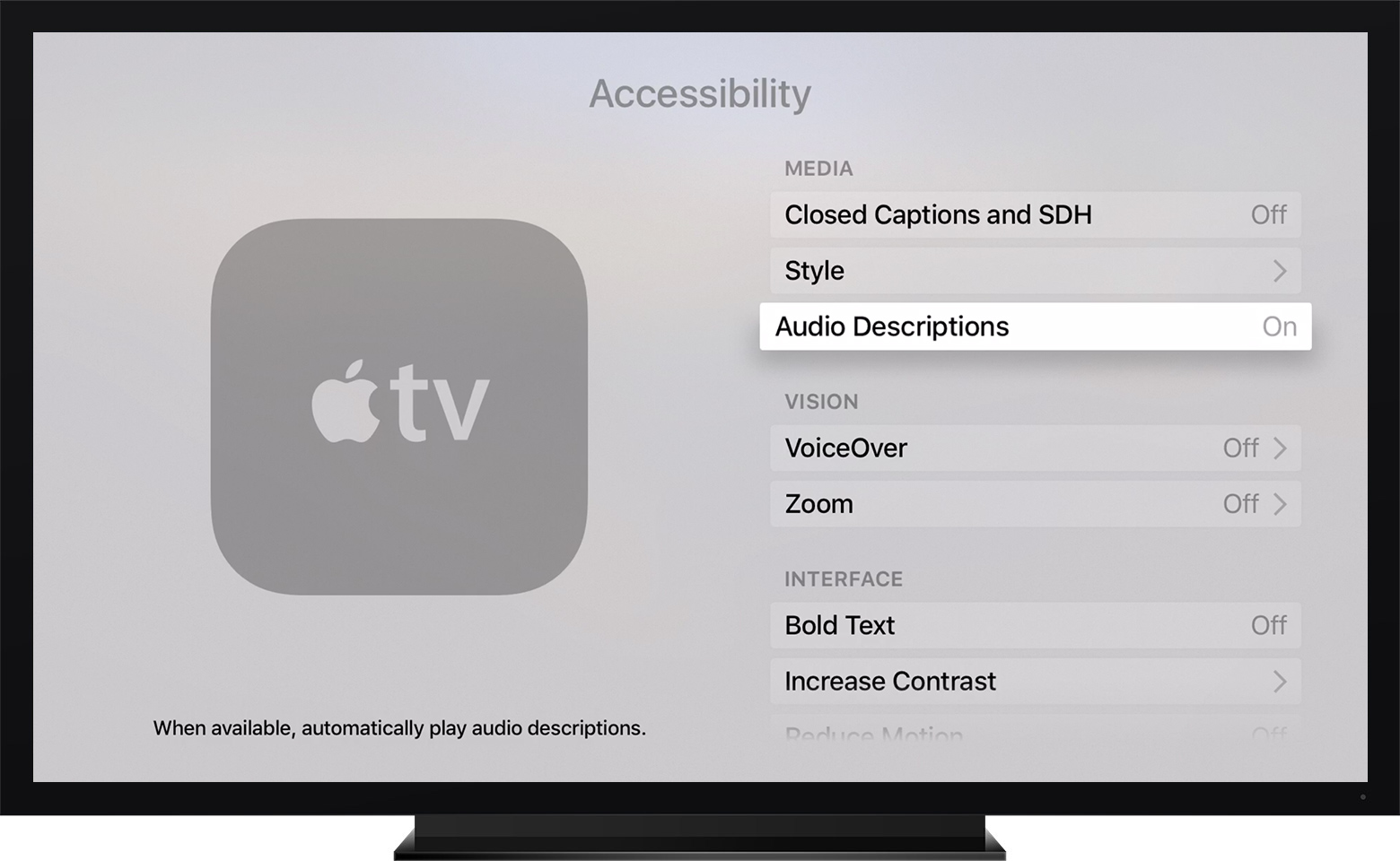 tvOS showing Audio Descriptions highlighted in the Accessibility menu.