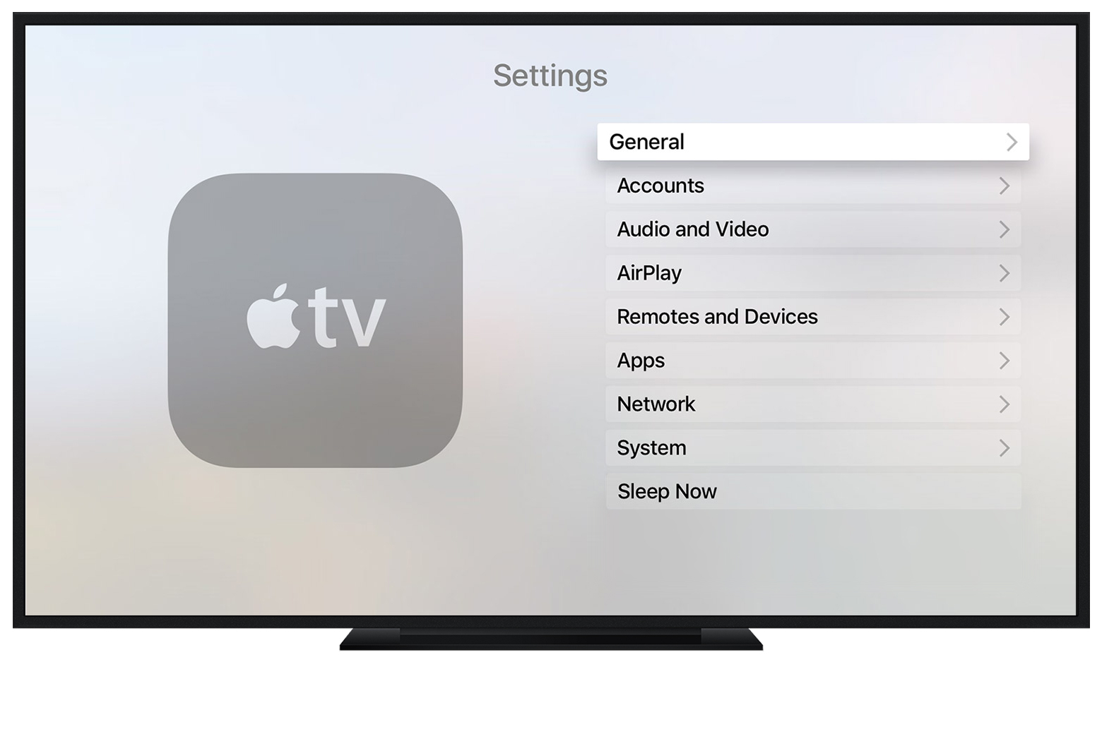 The General menu on Apple TV (4th generation)