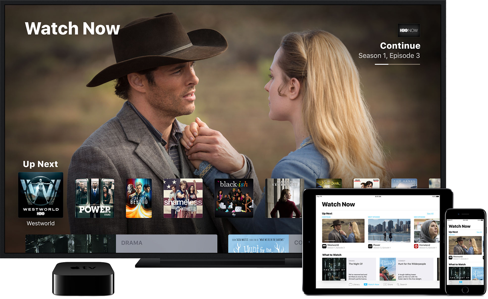 The TV app on Apple TV (4th generation), iPhone, and iPad