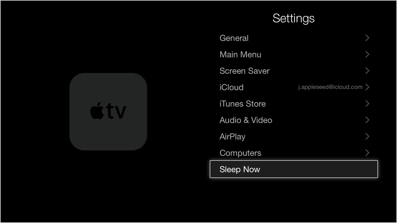Apple TV Settings menu