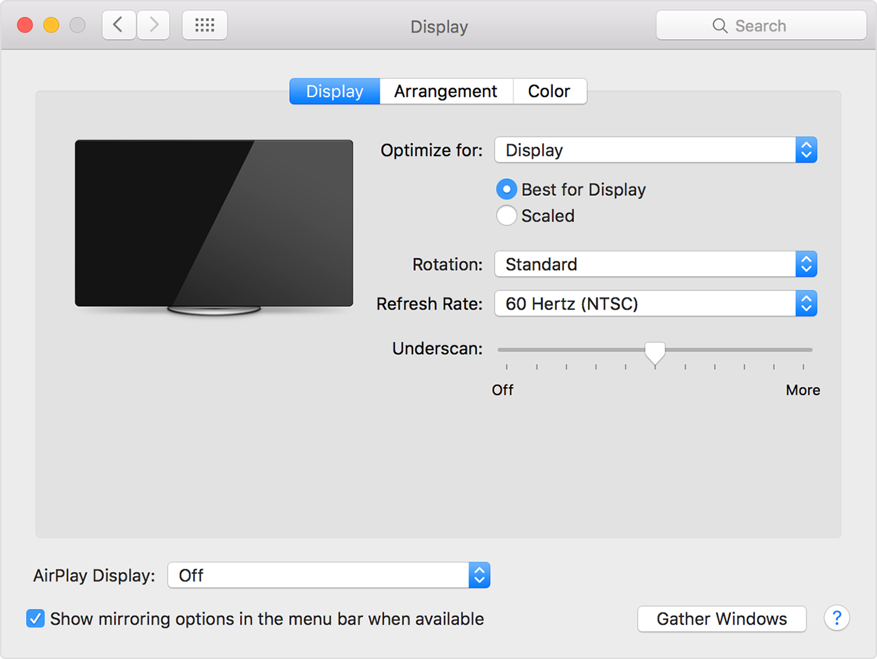 Display settings Mac