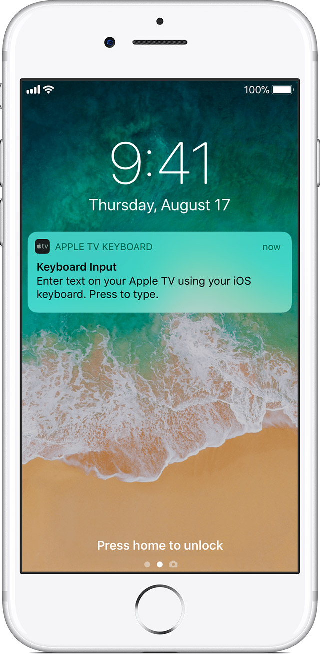 Enter text on your apple tv apple support open the notification to begin typing with your ios devices onscreen keyboard buycottarizona Image collections
