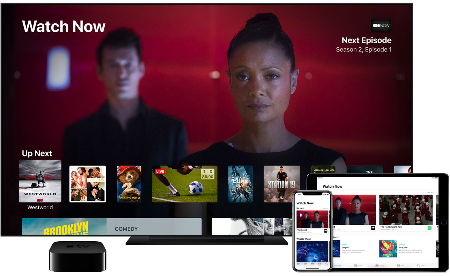 The Watch Now tab of the Apple TV App displays shows and movies that are up next.