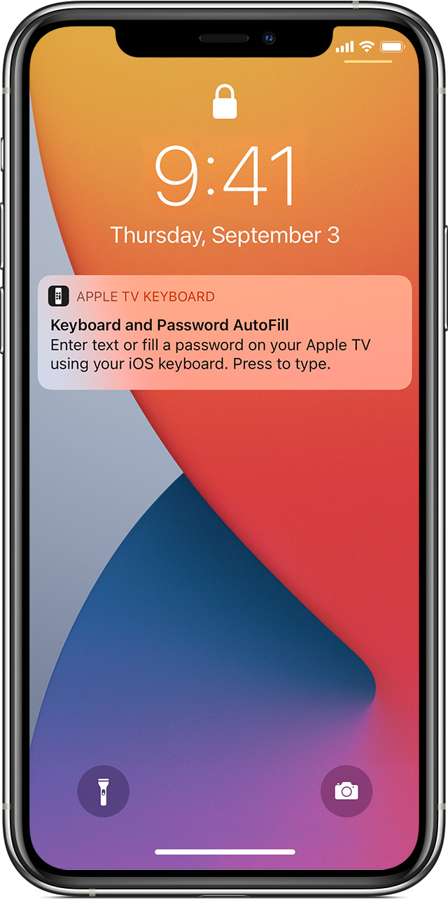 An iPhone Lock Screen notification prompts the user to use their iPhone to autofill a password.