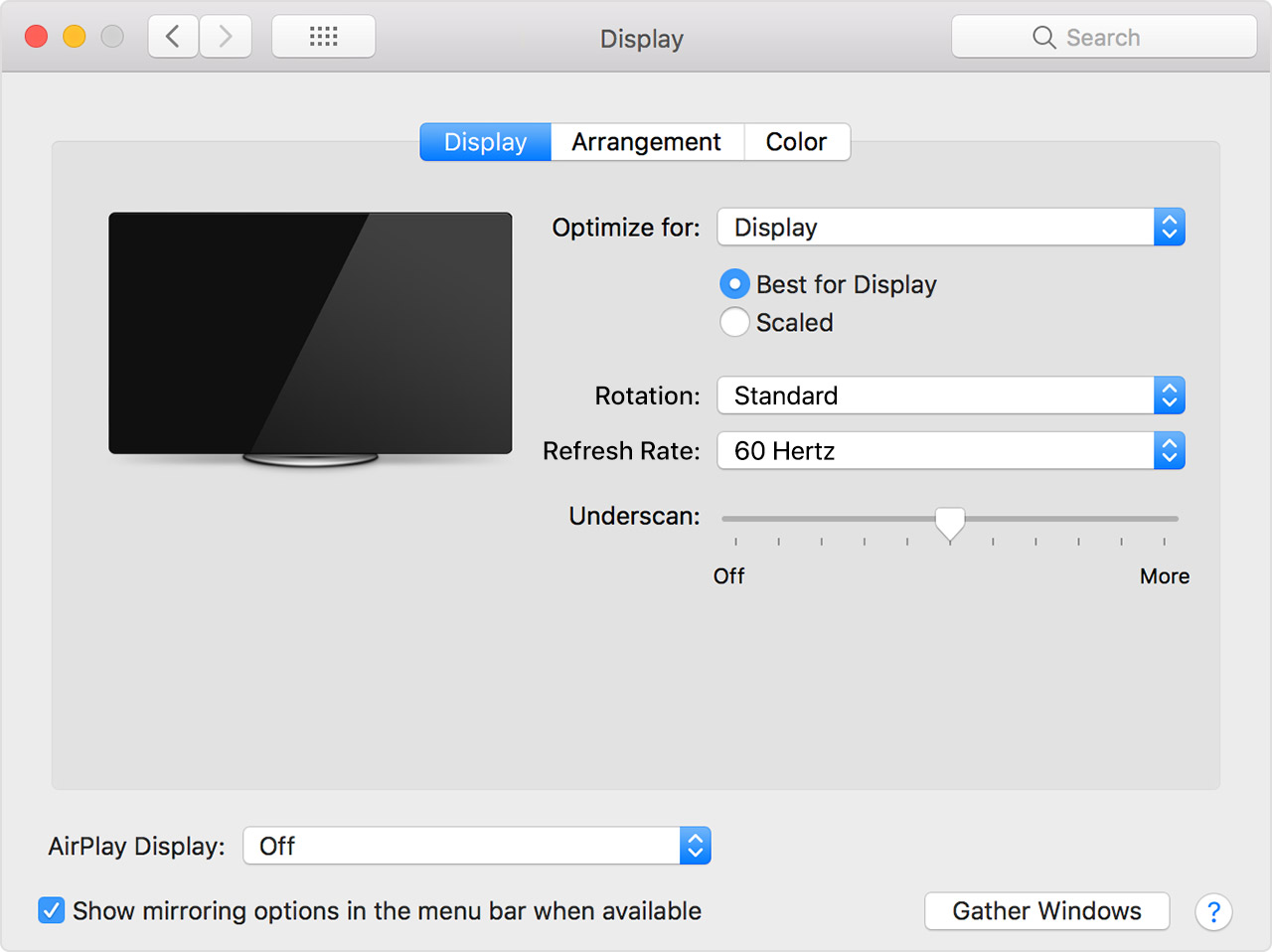 About overscan and underscan on your Mac, Apple TV, or other