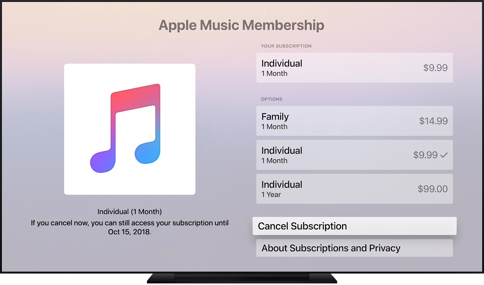 An Apple TV showing an Apple Music subscription. Cancel Subscription is selected.