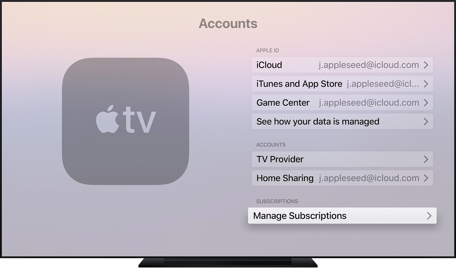 An Apple TV open to the Accounts setting screen. Manage Subscriptions is selected.