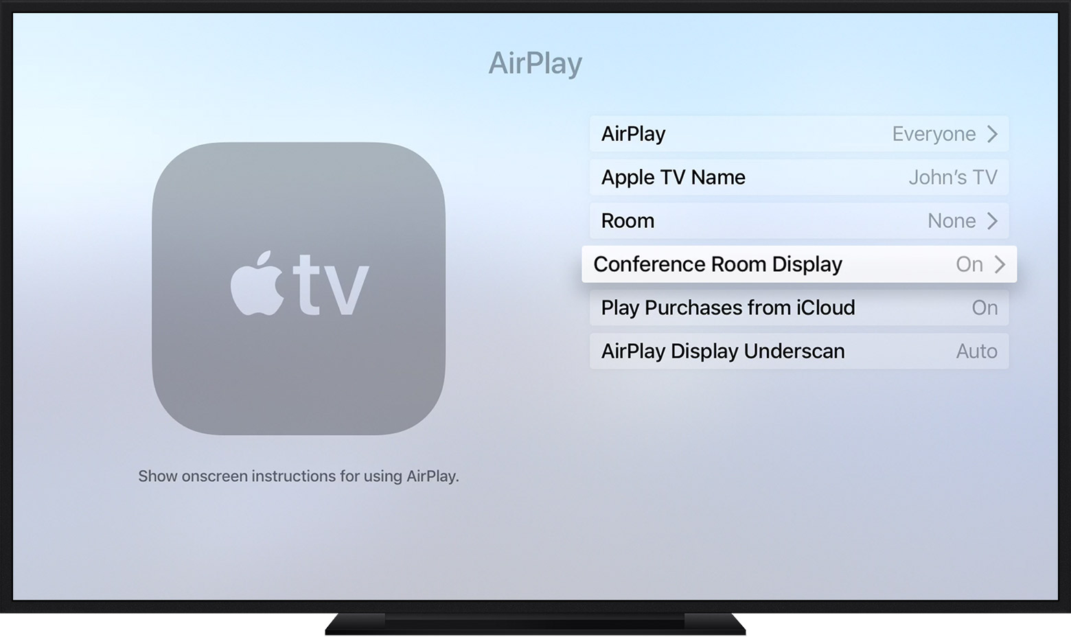 use conference room display mode and related settings on your apple rh support apple com Apple TV 2nd Gen Manual apple tv 2 manual español