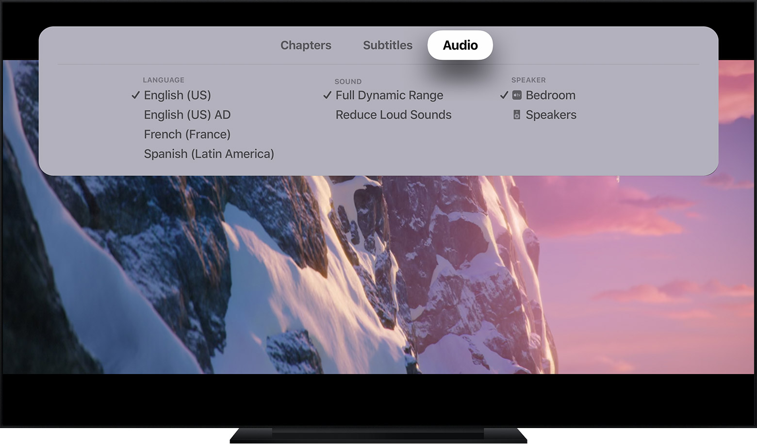 Change the subtitles or audio language for the Apple TV app and