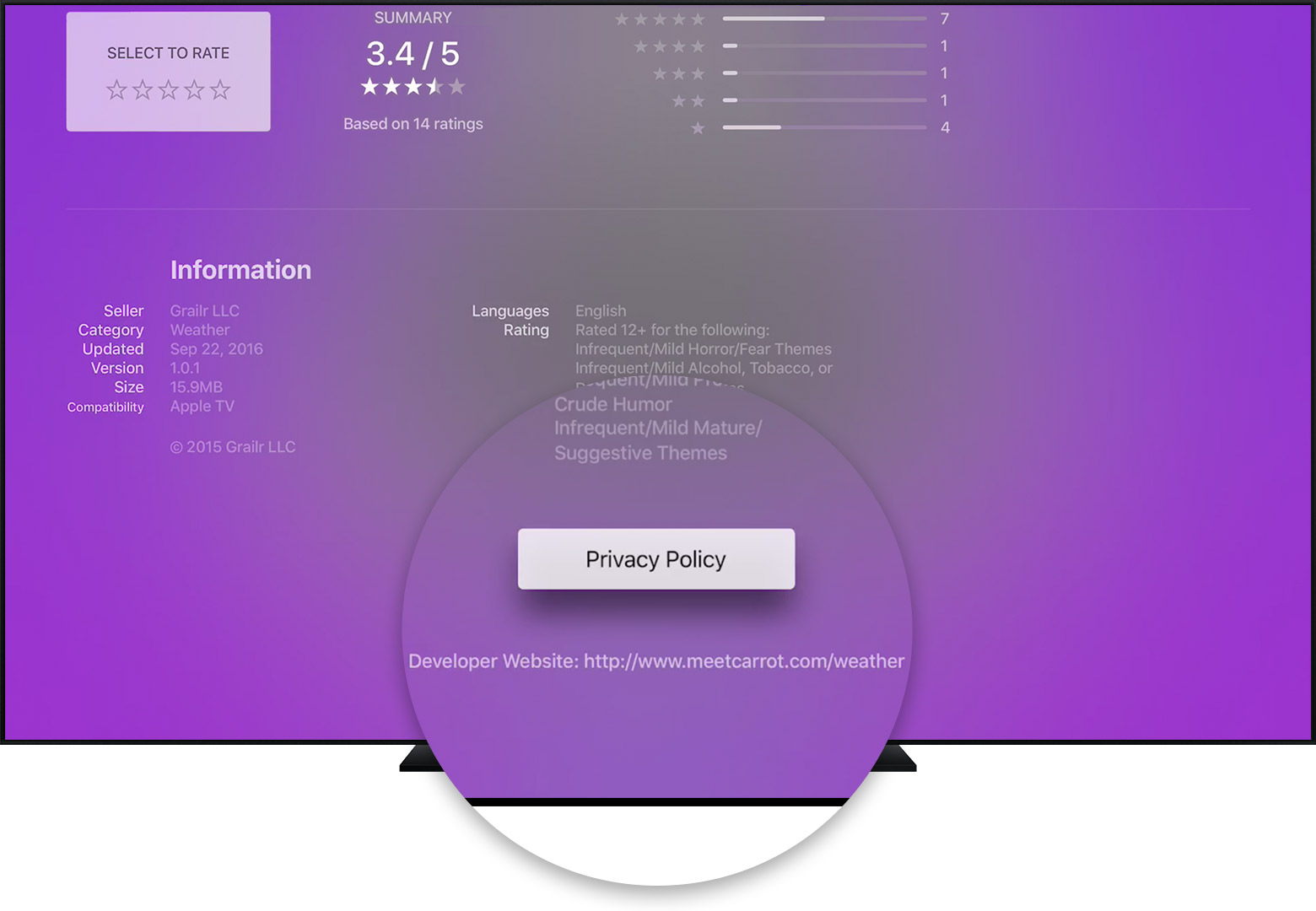 An Apple TV showing the Ratings and Review section of an App in the App Store. The Developer Website link at the bottom of the page is magnified.