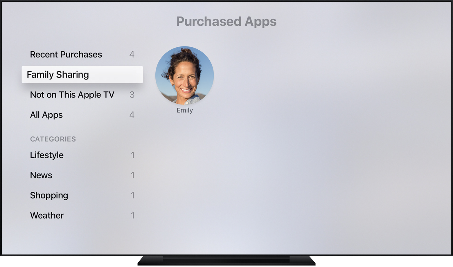 Apple TV showing family purchases