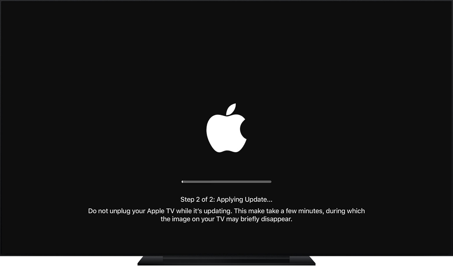tvOs showing Step 2 of 2 of the update: Applying Update.