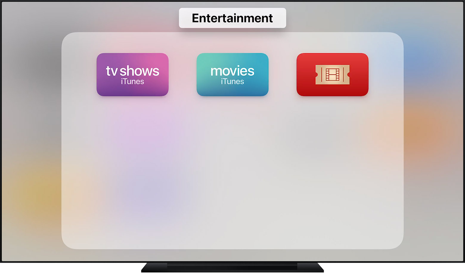 "tvOS showing a folder labeled ""Entertainment."""