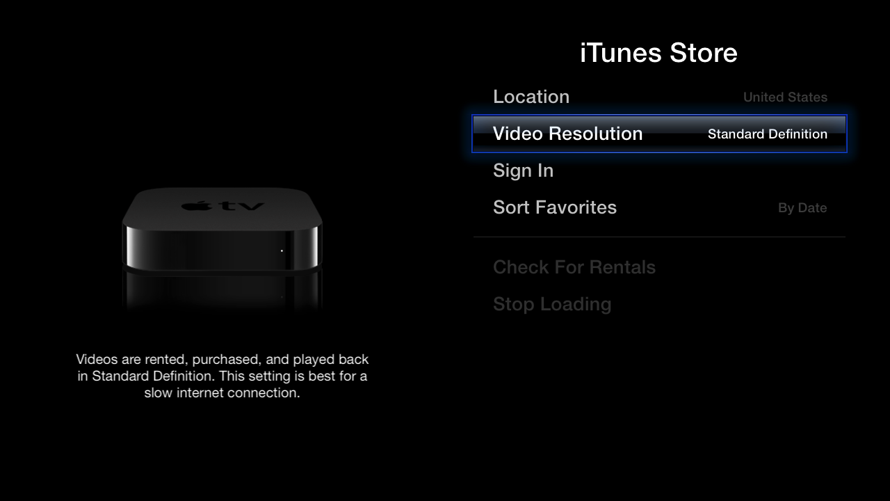 ITunes Store Settings showing Video Resolution set to Standard Definition