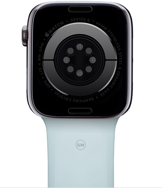 Neues blaues Armband an der Apple Watch.